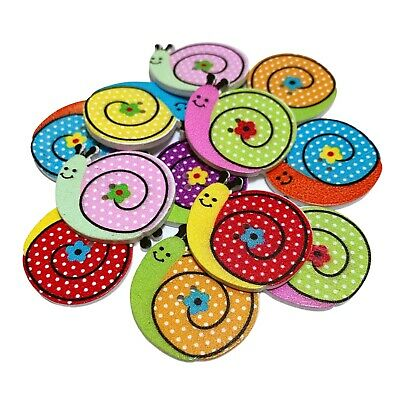 £2.79 • Buy 30 Wooden Happy Snail Buttons - Mixed Colours - Craft - Scrapbook - Sew - Cards
