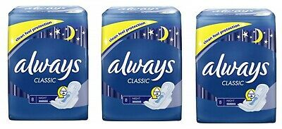 £4.69 • Buy Always Classic Pads, Night, 8-Count - Pack Of 3