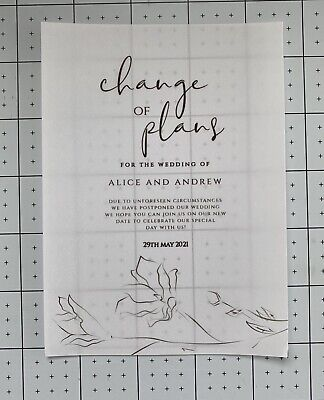 £8.99 • Buy 10 Personalised A6 Size Change Of Plans Printed On Vellum + Envelopes