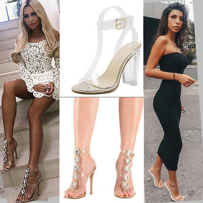 £3.99 • Buy Women Transparen PU Perspex High Heel Party Sandals Crystal Stiletto Jelly Pumps