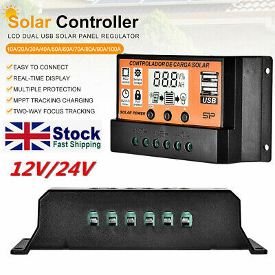 30/50/100A LCD MPPT/PWM Solar Panel Battery Dual USB Regulator Charge Controller • 9.89£