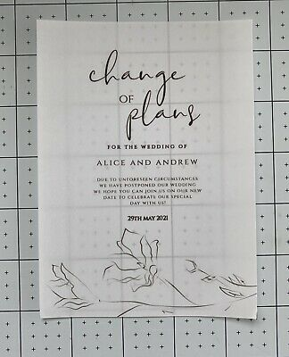 £12.99 • Buy 10 Personalised A5 Size Change Of Plans Printed On Vellum & Card Stunning Design