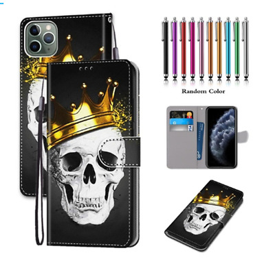 AU11.99 • Buy Crown Skull PU Leather Wallet Style Flip Cover With Card Holder Protection Case.