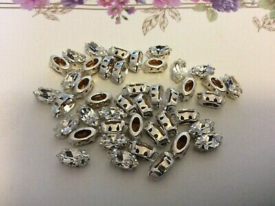 Swarovski #4200 Sew On Navette 10x5mm Crystal Rhinestone 4 Hole X12 CRAFT  • 4.05£