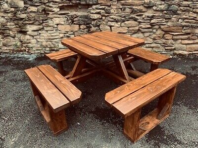 Heavy Duty- G8 Model- 8-Seater Round Timber Picnic/Pub Table -Brown Or Light Oak • 350£