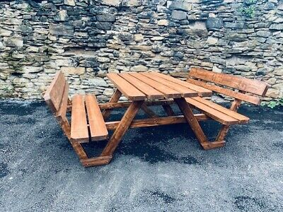 Heavy Duty- A1 Model- 8-Seater Round Timber Picnic/Pub Table -Brown Or Light • 300£