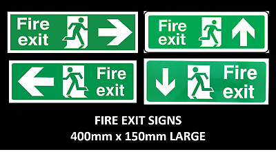 Fire Exit Sign - 400mm X 150mm - Emergency, Fire Escape, Fire Drill Arrows LARGE • 3.97£