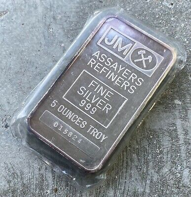 $ CDN239.95 • Buy Johnson Matthey 5 Oz .999 Silver Pressed Bar - Sealed With Light Purple Patina