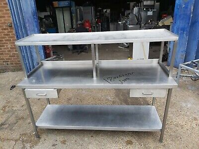 Commercial Stainless Steel Worktop Table With Shelf On Top Heavy Duty 180x65x135 • 299£