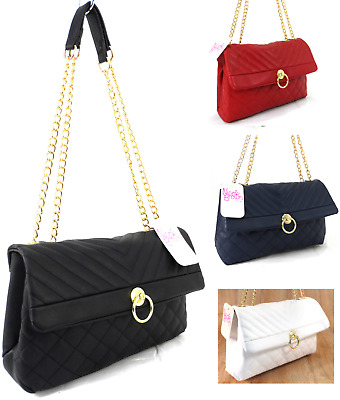 £11.99 • Buy Womens Ladies Quilted Chain Strap Bag Party Wedding Shoulder Cross Body Handbag