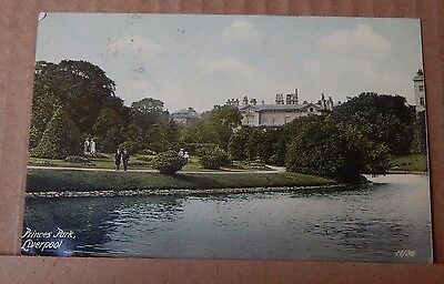 Postcard Princes Park Liverpool Early Colour Card Posted 1907 • 4.85£