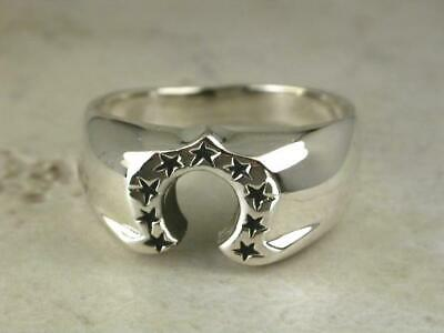 $20.99 • Buy HIGH POLISH .925 STERLING SILVER HORSE SHOE STAR RING Size 10  Style# R1967
