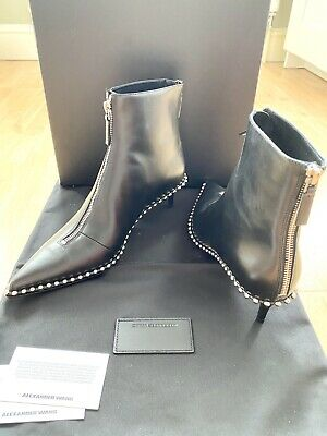 AU452.57 • Buy New Alexander Wang Eri Black Leather Studded Womens Ankle Boots Size 6 (39)