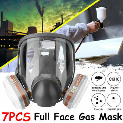 AU25.68 • Buy 7 IN 1 Full Face Gas Mask Facepiece Respirator Painting Spray With Cartridge Box