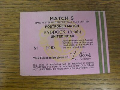 Circa 1970's Ticket: Manchester United, Match 5 Postponed Match, Paddock Adult, • 2.99£