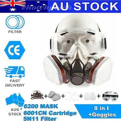 AU25.68 • Buy 6200 Half Mask 6001CN Cartridge+Goggles Face GAS Mask Painting Spraying 8 IN 1