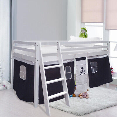 Cabin Bed Mid Sleeper Kids Child Wooden Bunk Bed With Pirate Design Curtain Tent • 169.95£