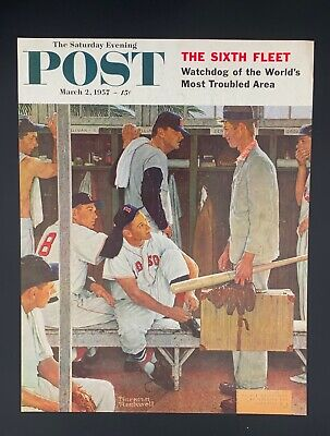 $ CDN60.33 • Buy The Saturday Evening Post March 2 1957 Norman Rockwell Redsox Cover  The Rookie