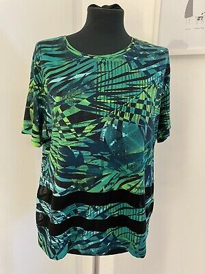 T Shirt - Size 14 - Green Tropical Print With Mesh Panels  • 1£