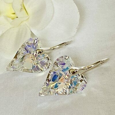 £17.99 • Buy 925 Silver 17mm Wild Heart Earrings Jewellery AB Made With Swarovski® Crystal