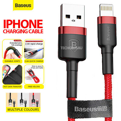 AU7.99 • Buy Baseus USB Braided Charging Cable Cord For IPhone 12 11 7 8 Plus XR XS Max Light