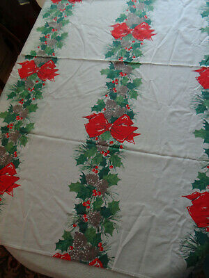 $ CDN26.65 • Buy Vintage Christmas Tablecloth Holly Big Red Bows 52 X 70