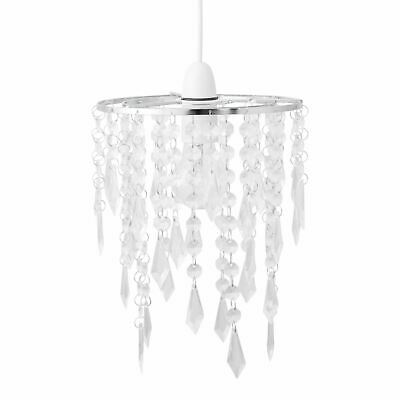 £8.99 • Buy Modern Ceiling Lightshade Pendant Shade Chrome With Clear Acrylic Jewels