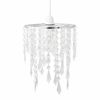 Modern Ceiling Lightshade Pendant Shade Chrome With Clear Acrylic Jewels • 9.99£
