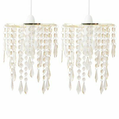 Set Of 2 Gold Acrylic Crystal Jewelled Easy Fit Ceiling Light Shade Pendants • 16.99£
