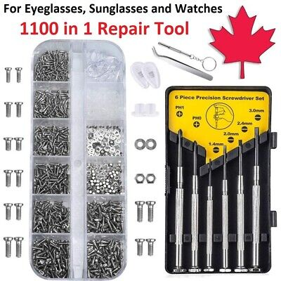 $ CDN14.95 • Buy Eyeglass Repair Kit - 1100pcs Screws & Nose Pads Screwdriver For Watch Glasses