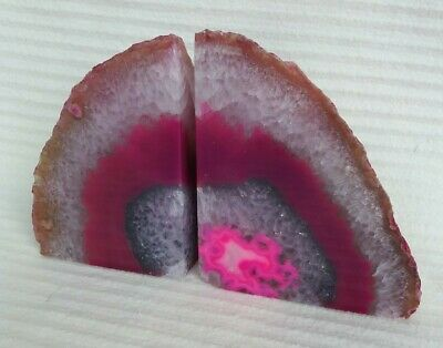 Pink Agate Crystal Bookends.  1.29 Kg • 35£