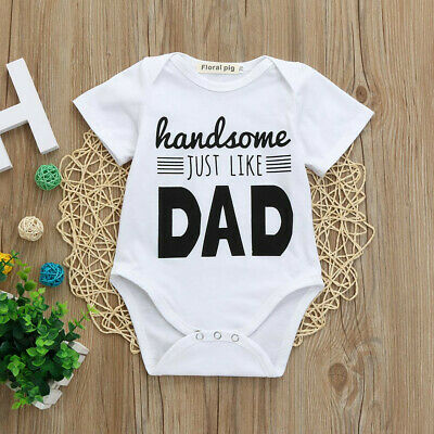 AU17.20 • Buy Newborn Kids Baby Boys Girls HANDSOME LIKE DAD Romper Jumpsuit Outfits Clothes