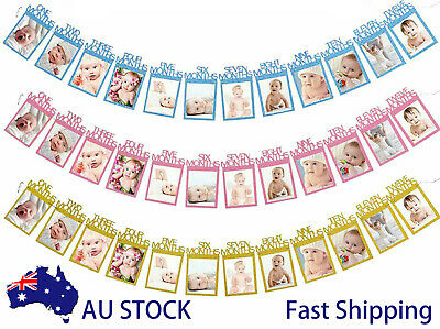 AU8.38 • Buy 1st Baby 1-12 Month Photograph Banner Glitter Garland Birthday Party Decorations