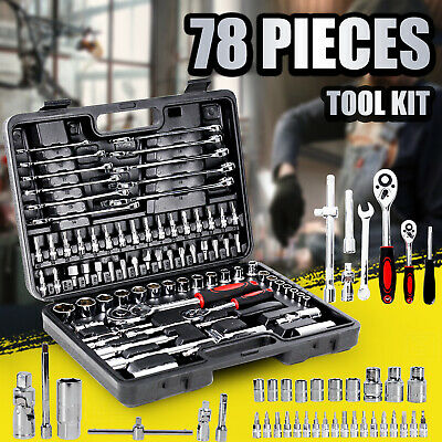 AU59.90 • Buy Tool Kit 78 PCS Socket Hand Set 1/2  & 1/4  Ratchet Spanner Wrench Metric Driver
