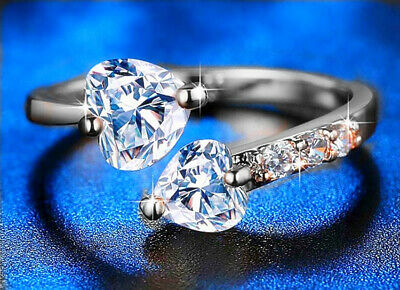 £3.29 • Buy Double Heart Adjustable Ring 925 Sterling Silver Womens Girls Jewellery Gifts UK