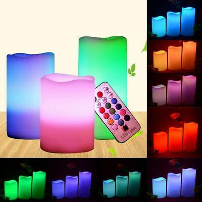 Set Of 3 Flameless Flickering LED Pillar Candles Colour Changing Mood Candles • 6.99£