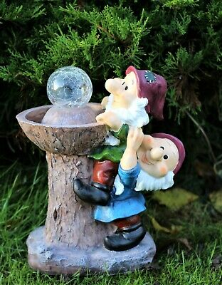 £18.95 • Buy Garden Ornament Gnomes Solar Light Ornament Decor  Bird Feeder Or BathDS5150