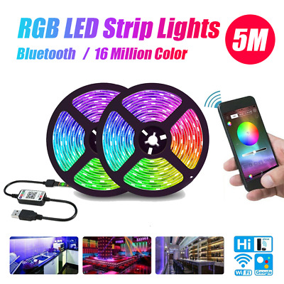 AU14.79 • Buy Bluetooth 5M RGB LED Strip Lights 5050 5V USB Color Changing TV PC Back Light