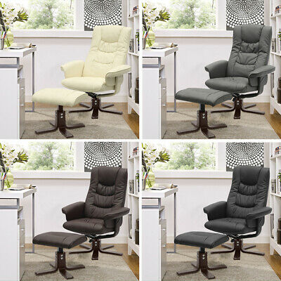 Recliner Swivel Leather Armchair Chair Sofa TV Cinema With Footrest Stool Lounge • 159.95£