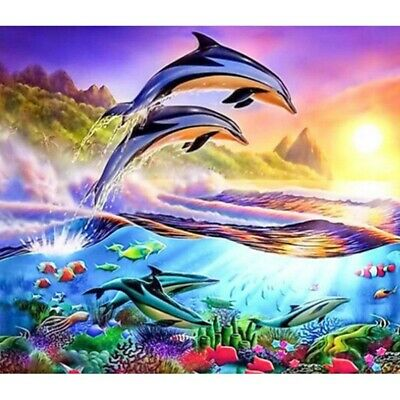 AU16.99 • Buy DIY 5D Diamond Painting Art Craft Active Dolphins Stitch Kits Decor Gifts
