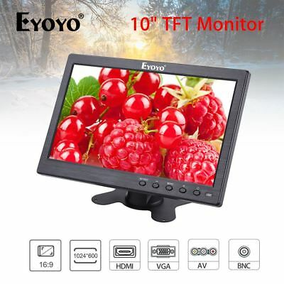 10  Inch Monitor BNC, AV, VGA, HDMI Video Input 1024*600 For CCTV DVD Security • 59.01£