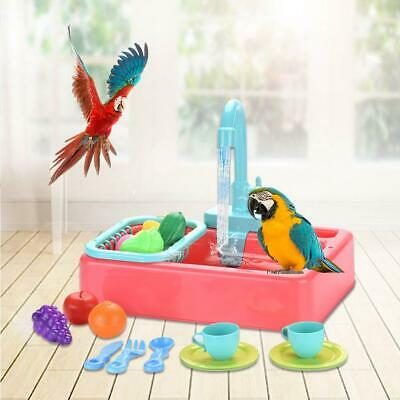 Mini Plastic Bird Bath Basin Pet Parrot Bathtub Birds Cage Bathroom Toys • 17.99£