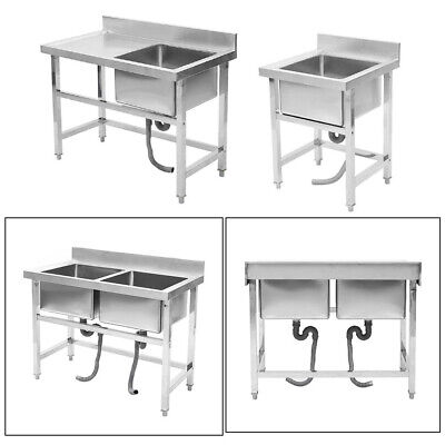 Commercial Sink  Stainless Steel Catering Kitchen Deep Bowl Drainer Wash Table • 215.94£