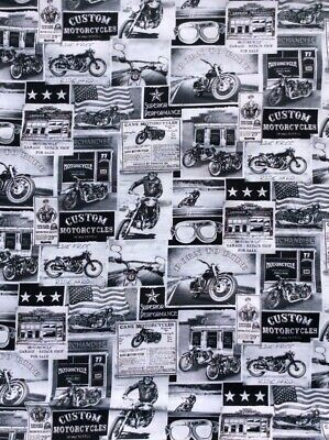 Fat Quarter Vintage Motorbike Motorcycles Cotton Quilting Fabric Black And White • 5.25£