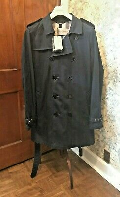 $599.95 • Buy BURBERRY BRIT Mens Large Ink/Dk Blue Mid-Length Trench Raincoat - New W/ Tags
