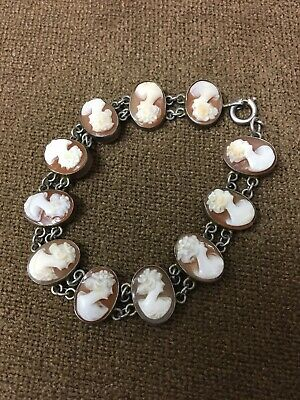 Antique Victorian Vintage Shell Cameo Bracelet Hand Carved 1930s - 1950s • 74.99£