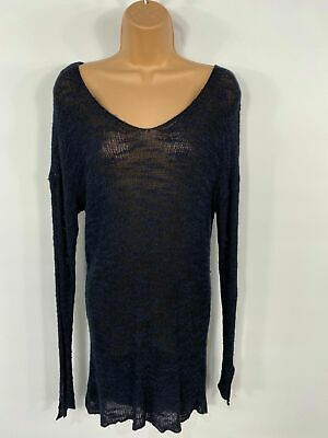 Womens Zara Navy & Black Slouchy Casual Knitted Jumper Pull Over Size Small S • 12.49£