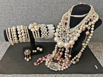 Faux Pearl Costume Jewellery Joblot Bundle Vintage Modern Necklace Bracelet • 20£