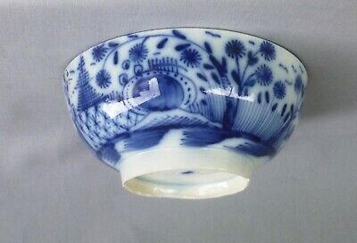 Small Pearlware Blue Painted Bowl, Rock & Fence Pattern.  C 1790 • 28£