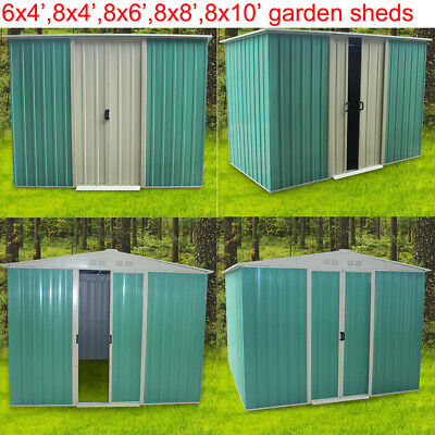 Metal 6X4, 8X4, 8X6, 8X8, 10X8 Garden Sheds Tools House Storage Shed Outdoor UK • 369.99£